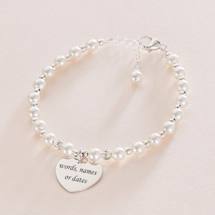 Pearl & Silver Memorial Bracelet with Engraving